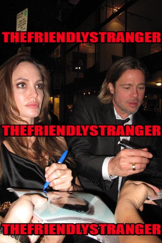 Angelina Jolie Brad Pitt Signing Autograph for RACC Autograph Collector THEFRIENDLYSTRANGER