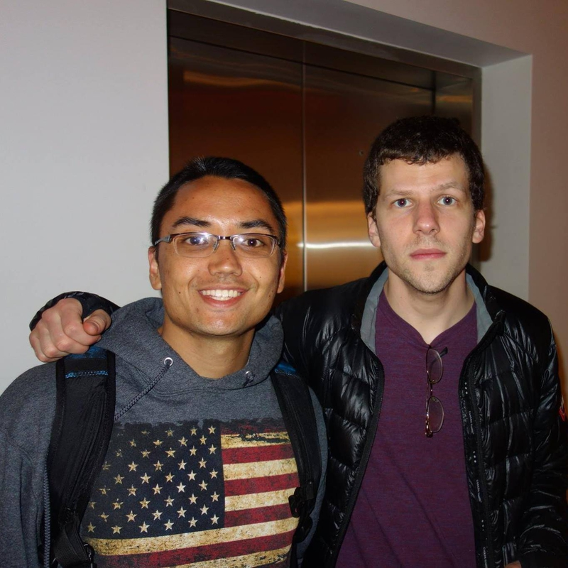 Jesse Eisenberg Photo with RACC Autograph Collector Blue Line Signatures