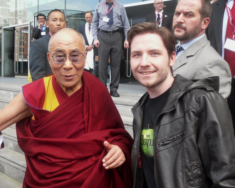 Dalai Lama Photo with Authentic Autograph Dealer Robert Swale