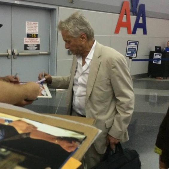 Michael Douglas Photo with Authentic Autograph Dealer Wolf Autographs NYC