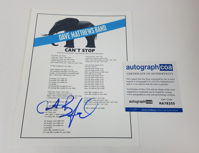 Dave Matthews Band Carter Beauford Autographed Signed Can T Stop Song Lyrics Ebay