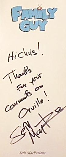 Seth MacFarlane Autograph by Fanmail TTM