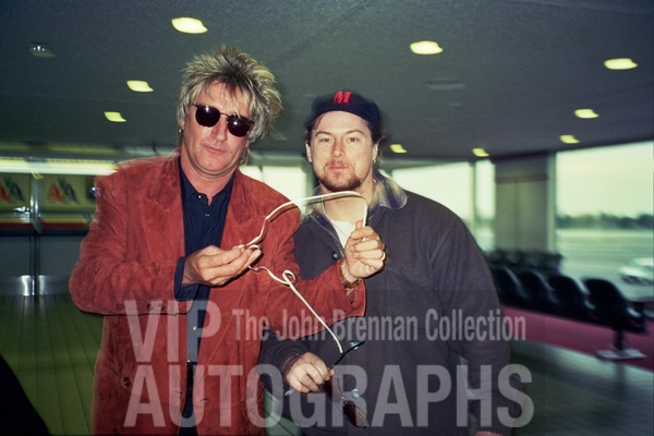Rod Stewart Photo with Authentic Autograph Dealer John Brennan