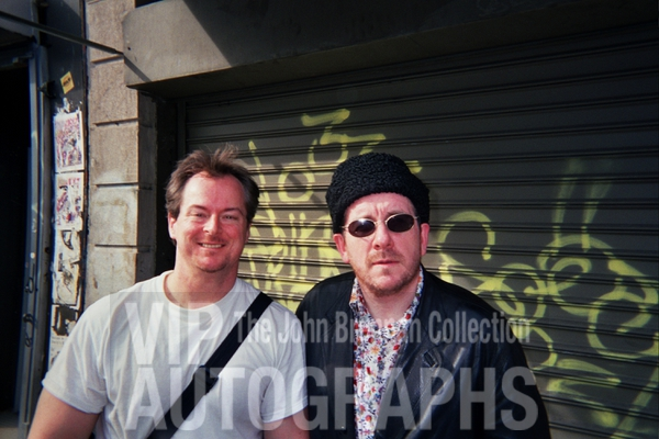 Elvis Costello Photo with Authentic Autograph Dealer John Brennan